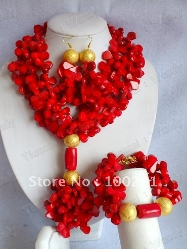 Hotsale!!Red Flower Three Strand African Wedding Bridal Coral Jewelry Set Necklace bracelet and earrings