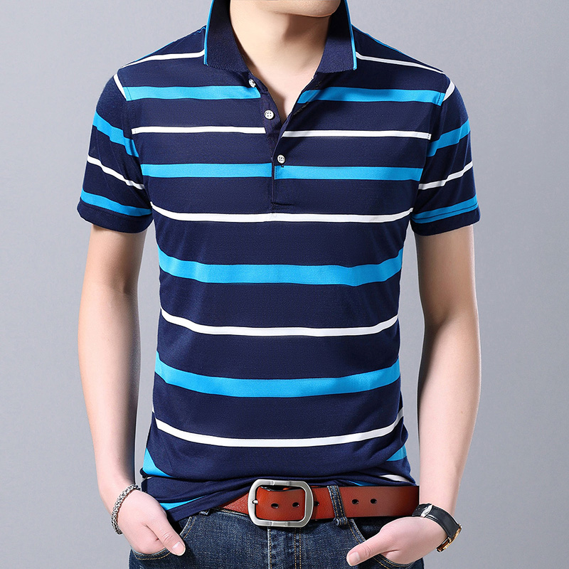 New 2019 summer mens striped cheap   polo   shirts male fashion patchwork colors short sleeve   polos   business clothes