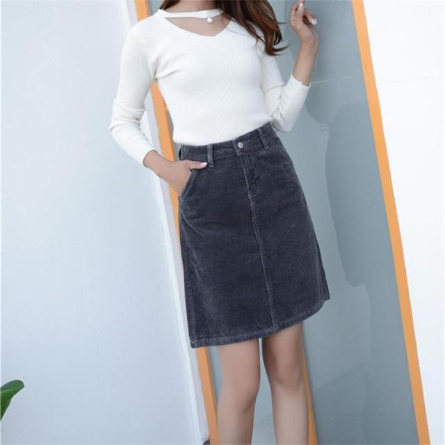 d5ced1673e Free Shipping 2019 New Spring Autumn Women's Corduroy Skirt Girls A-line  Above Knee Length Slim Skirt Large Plus Size 26-40