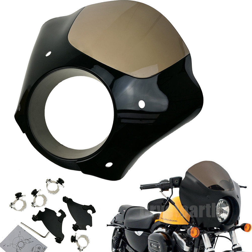 Motorcycle Front Headlight Fairing W/Trigger Lock Mount Kit For Harley Dyna Sportster XL 1200 883 Headlight Fairing Mask motorcycle chrome front spoiler chin fairing for harley sportster xl883 1200 04 15 new