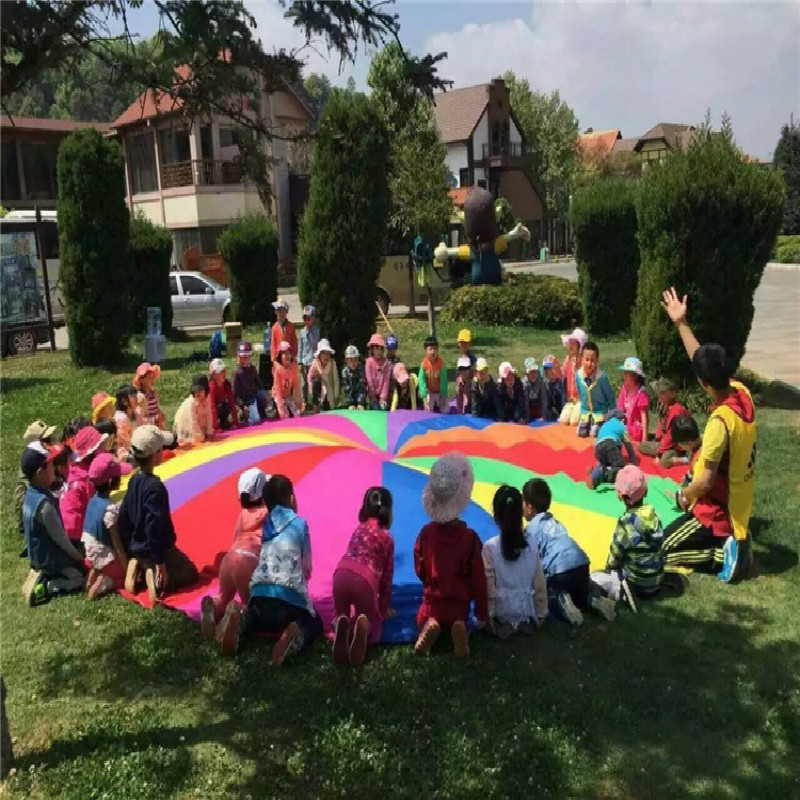 2-5m Rainbow Umbrella Parachute Children Early Education Toys Parent – Child Interaction Outdoor Fun Sports Jump-sack BallutToy