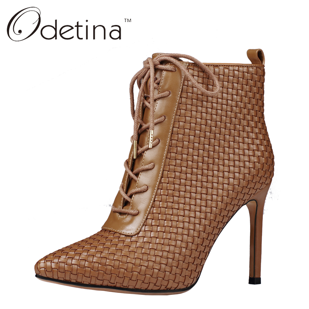 ФОТО Odetina Sexy Woman Pointed Toe Ankle Leather Boots High Heels Winter Boots Large Size Women Booties Lace Up Short Boots Black
