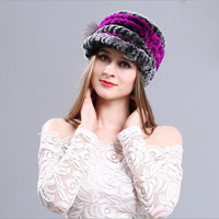 Wrasse Rabbit Hair Women Warm Hat Autumn Winter Thermal Satin Weave Handmade Visors Many Colors Fashion