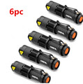 6pcs Mini Black 2000LM Waterproof LED Flashlight 3 Modes Zoomable LED Torch Penlight Free Shipping