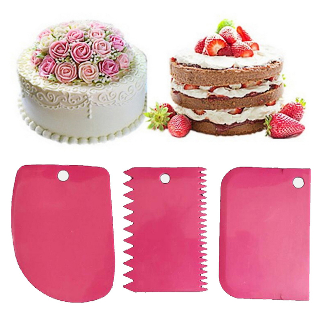 Urijk 3PCs/Set Pastry Dough Cutter Cake Bread Slicer Baking Pasty Tools Scraper Cake Blade Silicone Spatula For Cake Patisserie
