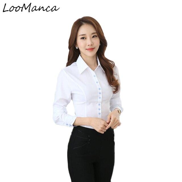 4428747a147 Plus Size 4XL,5XL Women Long Sleeve White Shirt Ol Slim Elegant Business  Formal Chiffon Blouse Office Ladies Work Wear Tops