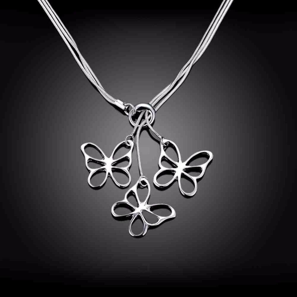 TB91 tres arco forma las mujeres 925 joyas de plata collar del amante 45 cm cadena enviar con venta caliente del producto