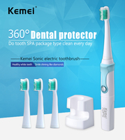 Kemei907 Chargeable Electric Toothbrush Wireless Charge Ultrasonic Sonic Electric Tooth Brush 4 Heads Professional Teeth Brush