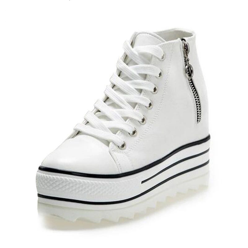 2018 New Fashion Womens High Heeled Platform Canvas Shoes Elevators White Black High Top ...