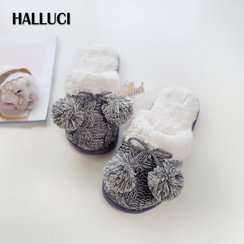 HALLUCI Classic Winter knitting wool home slippers women shoes black rubber mulher Keep warm fashion Venonat indoor slippers цена и фото
