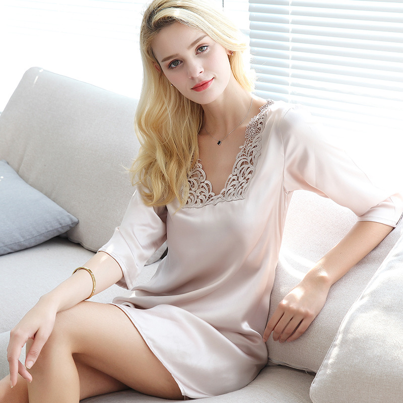 S55131 New Fashion Summer Clothing Sleepwear Women silk Sleeping wear women Embroidered 100% Silk   Nightgowns   &   Sleepshirts