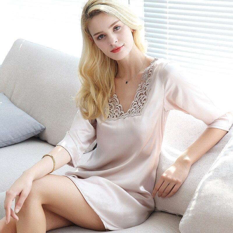 S55131 nouveau mode été vêtements de nuit femmes soie vêtements de couchage femmes brodé 100% soie chemises de nuit et chemises de nuit