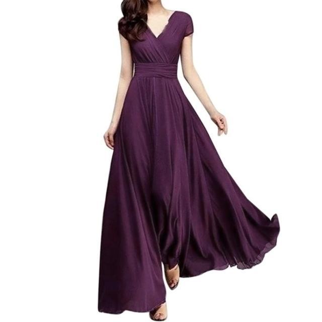 VOT7 2018 Dress party Fashion Women Casual Solid Chiffon V-Neck Evening Party Long Dress TW Women Loose Silhouette Dress
