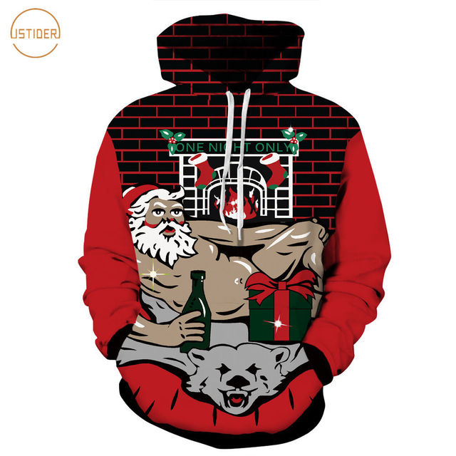 1a12c8d4139c ISTider Kuso Sexy Naked Santa Funny 3D Hoodies Christmas Gift Print Black  Red Hooded Sweatshirt Fall Winter Thin Pullover Sweat