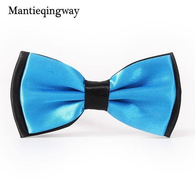 Mantieqingway Mode Nouvelle Marque Bow Tie Polyester Double Couleur De Noce  Bleu Noeuds Papillon Cravates Smoking a5b4a8efe7d