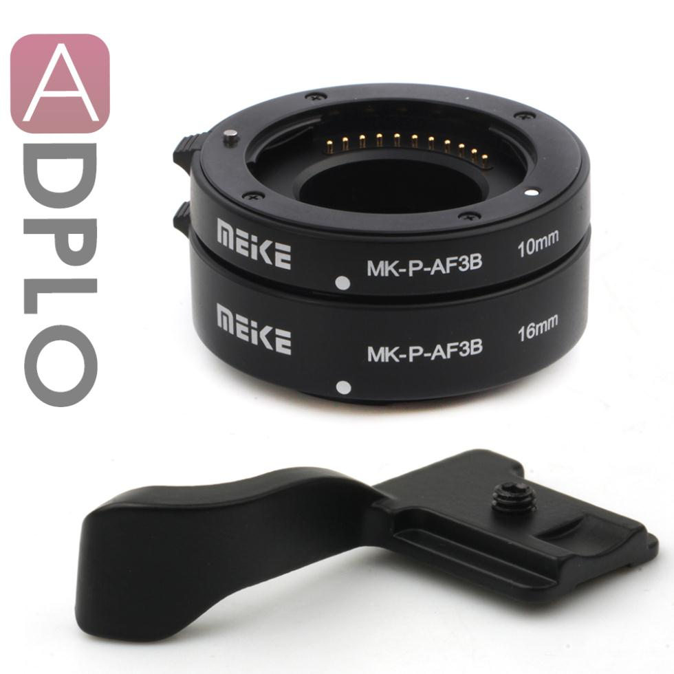 Meike Automatic Macro Extension Tube Suit For Micro Four Third m4/3 GF6 GH3 G5 GF5 E-P5 E-PL5 E-PM2 Camera+Thumb Up Grip(black)