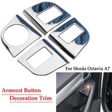 Декоративная наклейка на подлокотник для автомобиля, накладка на крышку из нержавеющей стали, авто для Skoda Octavia A7, автомобильный Стайлинг, авто аксессуары, наклейка s