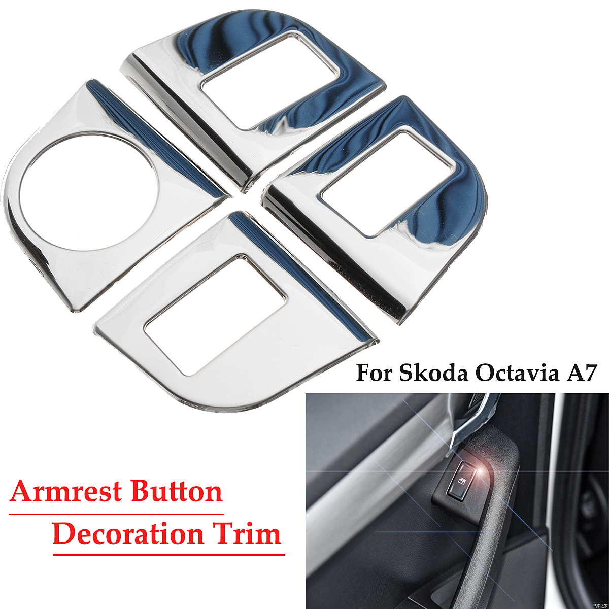 Car Armrest Button Decoration Sticker Stainless Steel Cover Trim Auto for Skoda Octavia A7 Car Styling Auto Accessories Stickers 2 5m car rubber carbon stickers for skoda fabia octavia front lip bumper decoration for vw auto exterior stickers for toyota