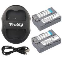 PROBTY 2pcs EN EL3E En El3e Battery USB Dual Charger For Nikon D70 D70S D80 D90