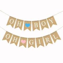Letter OH BOY Banner DIY Linen Flags OH GIRL Garlands Baby Shower Newborns Party Decoration Kids Gender Reveal Party Supplies oh baby oh girl oh boy banner sign banner banner baby shower decorations girl boy unisex baby shower bunting suplies