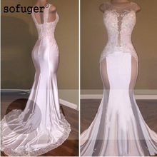 Backless 2019 Prom Dresses Mermaid High Collar Appliques Lace Beaded Party Maxys Long Gown Evening Robe De Soiree