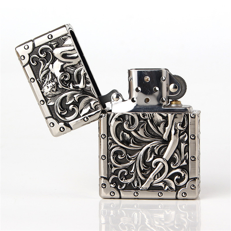 High Quality Pure Copper Retro Grinding Wheel Gas Lighter Men Gadgets Kerosene Oil Lighter Cigarette Accessories Gift Package|Matches| |  - title=