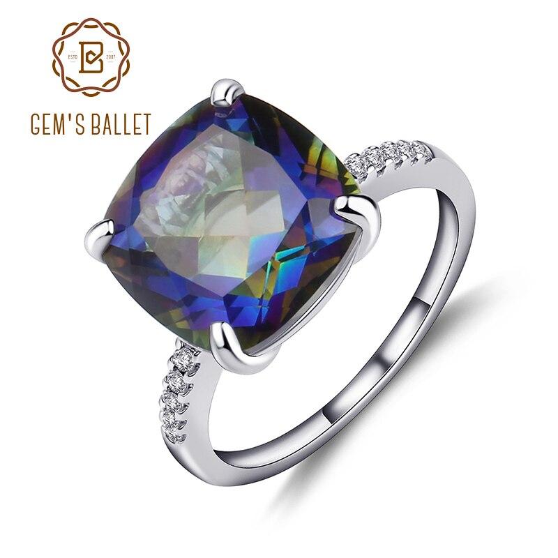 Gem's Ballet 9.66Ct Natural Blueish Mystic Quartz Gemstone Cocktail Ring For Women 925 Sterling Silver Wedding Band Fine Jewelry