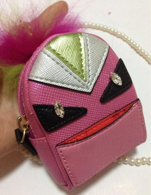 Mujeres mini karl monster mochila bug del encanto del bolso llaveros anillo dominante decoración del teléfono pompón de piel de cuero genuino