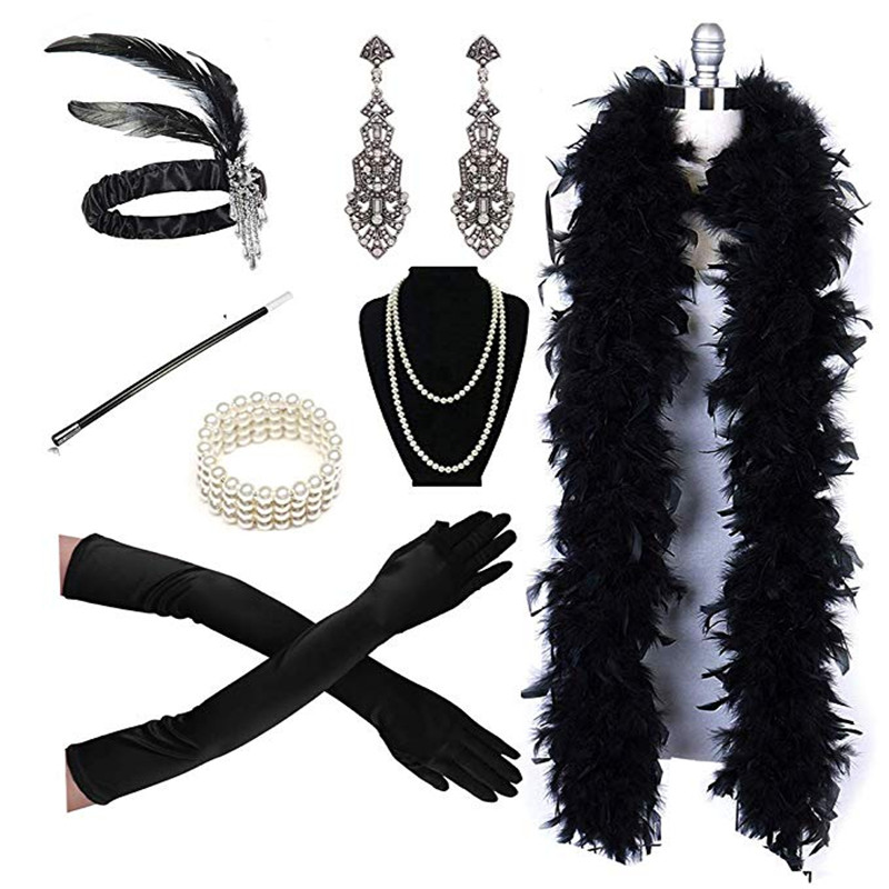 Women's Cigarette Holder The Great Gatsby Feather Headbands Boa Party Accessory Necklace Ggloves Earring Set Cosplay Halloween