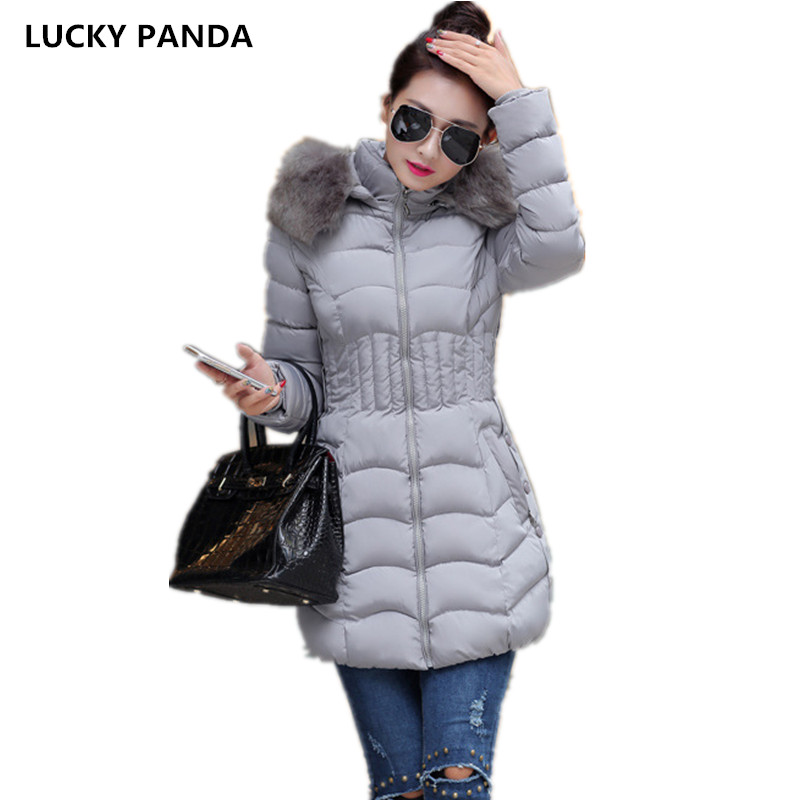 Lucky Panda 2016 The new winter coat female cotton wool collar down large size thick cotton padded coat LKP248 lucky panda 2016 the new winter coat and female slim in the long and small lattice fragrant cotton lkp243