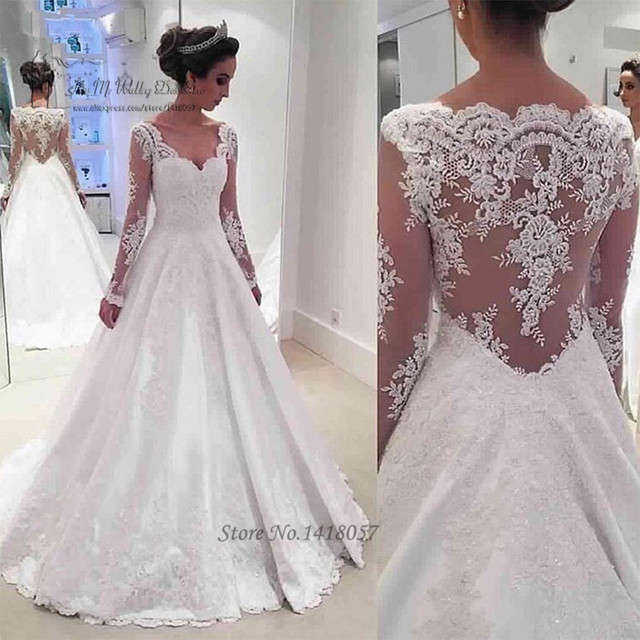 Vestido de Renda Noiva Vintage Lace Wedding Dress Long Sleeve ...