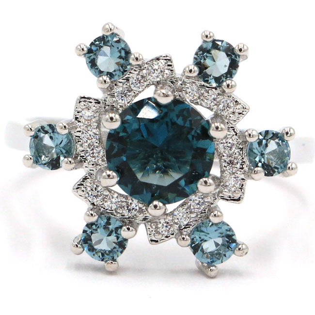 7.0# New Arrival Star Shape London Blue Topaz Natural CZ Gift 925 Silver Ring 18x16mm