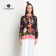 Runway Chiffon Blouse  Women Casual Shirt  Print Dress