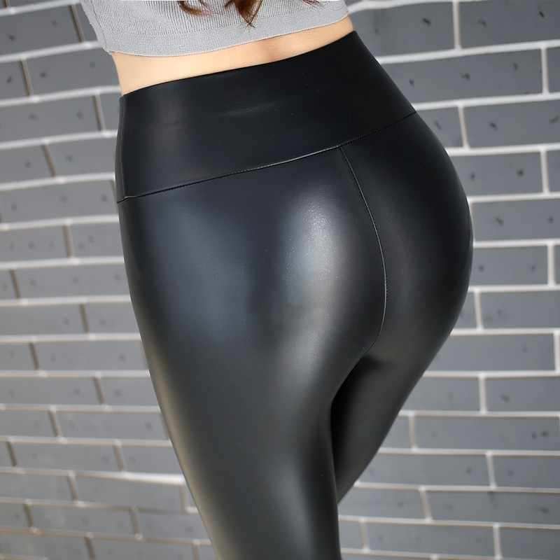 Plus Größe Casual PU Leder sexy Leggings Frauen Hohe Taille Elastische Fitness Stretch Dünne Warme Workout Leder Leggins femme