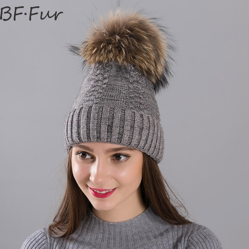 BFFUR Winter Warm Beanies Hats Women Real Raccoon Fur Ball Solid Knitted Wool Caps For Girls Animal Pompom Bonnet Femme Fashion 2016 new beautiful colorful ball warm winter beanies women caps casual sweet knitted hats for women outdoor travel free shipping