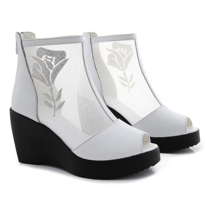 Femmes Plate Zxryxgs blanc Cuir Respirant Sandales Maille Nouvelle De Pour Réel Coins Tendance Bottes D'été Chaussures 2019 forme En Noir qvwwp1rHca