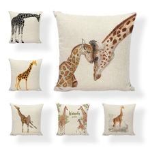 Hot Sale Linen Pillow Cover Giraffe Growing Up Balloon Cushion Cover Home Sofa Office Bedroom Decorative Pillow Case 45x45 CM цены