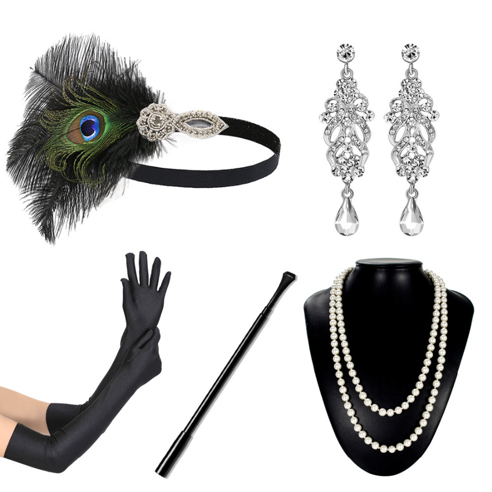 Vintage 20s Great Gatsby Party Accessory Set 1920s Flapper Fancy Dress Accessory Women Feather Headband Glove Earring for Party