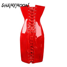 SHAMYMOON Couro Mulheres Shapers Do Corpo Shapewear Corpo Sexy Estiramento Bandage Moda Completa Do Corpo Da Cintura das Mulheres do Espartilho Roupa Interior SP020
