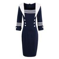 Sisjuly Women Luxury Bodycon Dress Vintage Nautical Style Patchwork Button Bodycon Dresses Navy Blue Pencil Bodycon