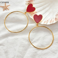 Canner Trendy Red Heart Big Gold Loop Dangle Earrings For Women Korean Statement Long Jewelry