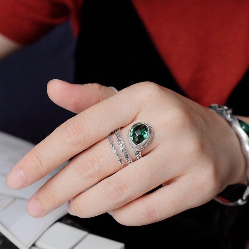 L & P Élégant Mode Vert Cristal Anneaux 100% 925 Bague En Argent Pour Les Femmes Bali Bijoux Ethniques Gros Pour cadeau de noël