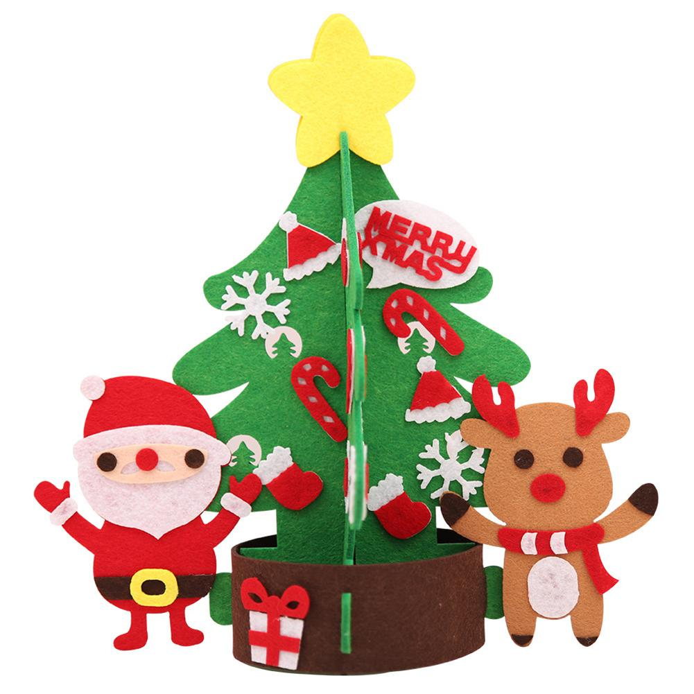 Hot DIY Christmas Tree with Ornaments Santa Elk Xmas Kids ...