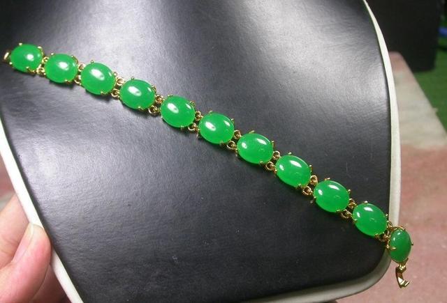 Placa de ouro CHINÊS Icy Verde JADE Cabochão Bead Contas Bangle Bracelet 252589