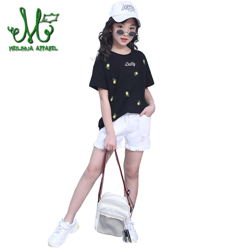 2018 Teens Girls Summer Clothing Set Flower T-shirts & Jeans Short 2Pcs 4 6 8 10 12 14 Years Fashion Girl Cotton Cute Clothes 2018 Teens Girls Summer Clothing Set Flower T-shirts & Jeans Short 2Pcs 4 6 8 10 12 14 Years Fashion Girl Cotton Cute Clothes
