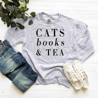 Skuggnas Cats books & tea sweatshirt cat lover gifts sweatshirt women graphic Jumper funny women pullover crewneck outfits