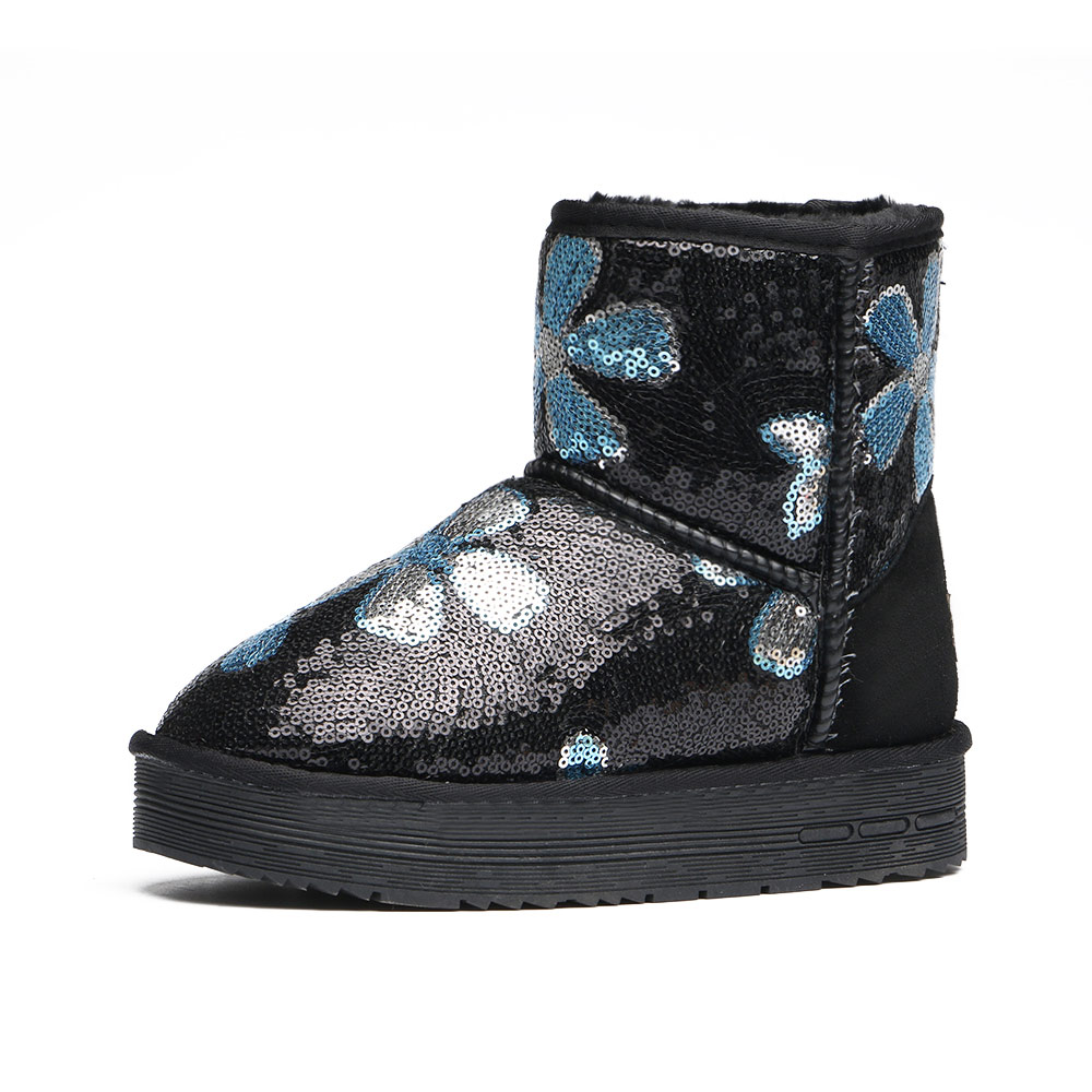 11.11 Price Sequins Winter Women Boots In Tube Fashion Cotton Boots, Pearl Shiny Non-slip Warm Shoes Thick Snow Boots