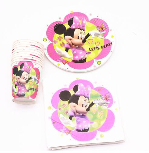 40Pcs Minnie pink cartoon  Party Decoration Plates Cups Napkins Cover  Baby Shower Birthday Decors Kids Party Supplies