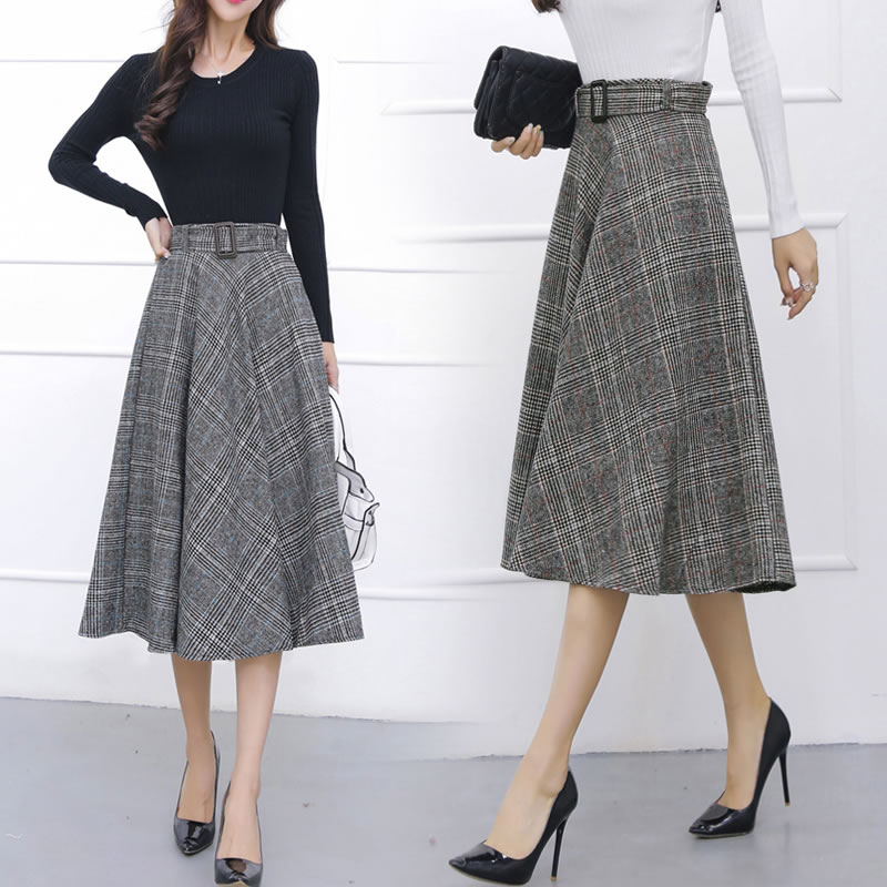 tingyili retro plaid skirt skirt autumn winter