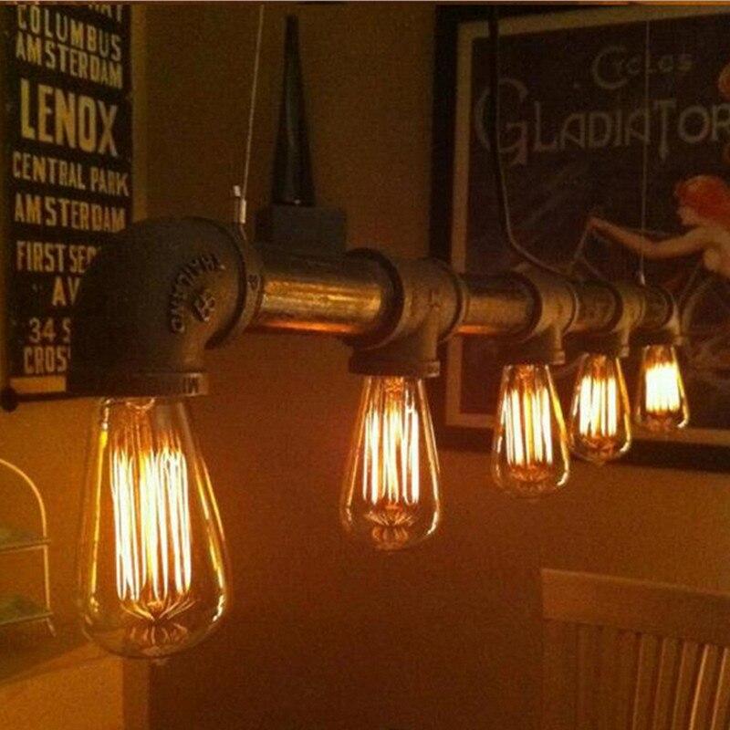 Vintage Pendant Lights Water Pipe Pendant Lamp Industrial Metal Iron Kitchen Fixture Home Lighting luminaire hanging Lamp vintage iron pendant light industrial lamps e27 cage pendant lamp hanging lights fixture with glass guard indoor lighting